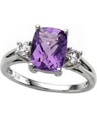 KLENOTA Stříbrný prsten s ametystem a bílým topazem