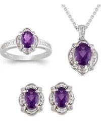 KLENOTA Ametystová souprava šperků ze stříbra