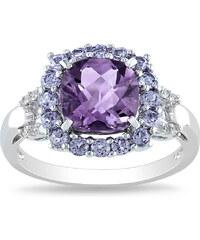KLENOTA Stříbrný prsten s ametystem tanzanity