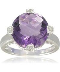 KLENOTA Ametystový prsten ze sříbra