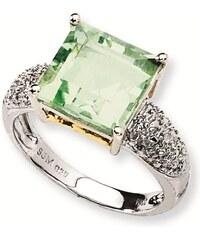KLENOTA Stříbrný pozlacený prsten se zeleným ametystem a diamanty