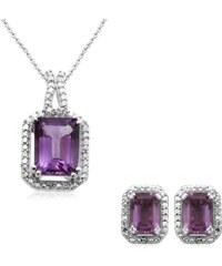 KLENOTA Ametystová souprava šperků s diamanty