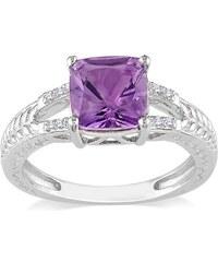 KLENOTA Stříbrný prsten s ametystem a diamanty