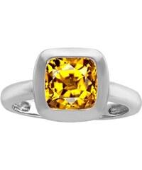KLENOTA Stříbrný zásnubní prsten s citrínem