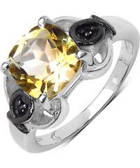 KLENOTA Stříbrný prsten s citrínem a černými spinely