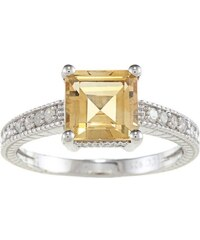 KLENOTA Stříbrný prsten s citrínem a diamanty