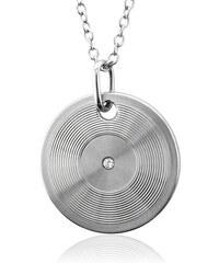 KLENOTA Pánský stříbrný přívěsek ve tvaru disku s diamantem