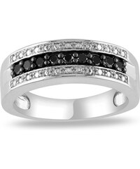 KLENOTA Stříbrný prsten s diamanty po obvodu