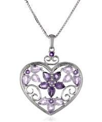 KLENOTA Drahokamový přívěsek ze stříbra ve tvaru srdce