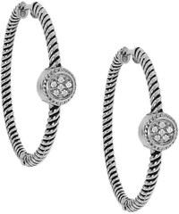 KLENOTA Kruhové diamantové náušnice ze stříbra