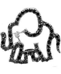 KLENOTA Sloní přívěsek s černými diamanty