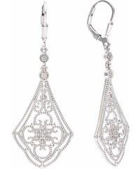 KLENOTA Vintage dlouhé visací náušnice s diamanty