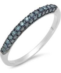 KLENOTA Výroční svatební prsten s modrými diamanty