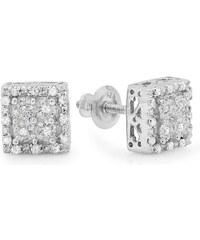 KLENOTA Čtvercové stříbrné náusnice s diamanty