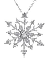 KLENOTA Stříbrný přívěsek vločka s diamantem