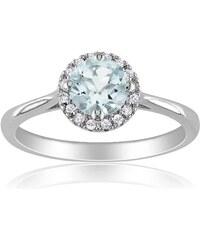 KLENOTA Zářivý prsten ze stříbra s akvamarínem a diamanty