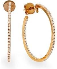 KLENOTA Pozlacené kruhy do uší s diamanty