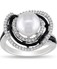KLENOTA Perlový prsten s diamanty