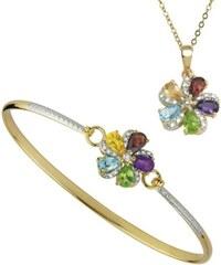 KLENOTA Květinová souprava šperků s barevnými drahokamy