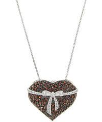 KLENOTA Řetízek s přívěskem tvaru srdce s granáty