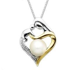 KLENOTA Dvoubarevný náhrdelník s perlou