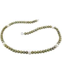 KLENOTA Náhrdelník ze zelených a bílých perel