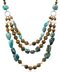 KLENOTA Barevný náhrdelník z perel a drahokamů