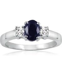 KLENOTA Stříbrný prsten s modrým safírem a bílými topazy