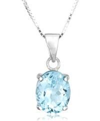 KLENOTA Stříbrný náhrdelník s modrým topazem