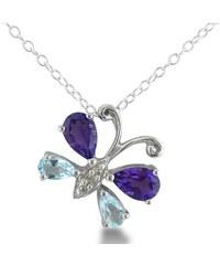 KLENOTA Stříbrný přívěsek ve tvaru motýlka s ametysty a modrými topazy