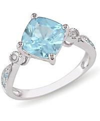 KLENOTA Módní prsten s modrým topazem a diamanty