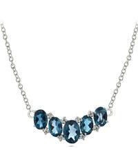 KLENOTA Stříbrný náhrdelník s modrými london topazy