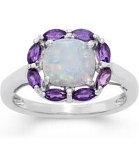 KLENOTA Květinový prsten s opálem a ametysty