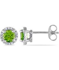 KLENOTA Náušnice pecky peridot a diamanty