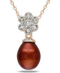 KLENOTA Originální pozlacený náhrdelník s perlou a diamanty