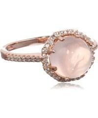 KLENOTA Stříbrný prsten potažený vrstvičkou růžového rhodia s růženínem a zirkony