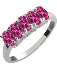 KLENOTA Stříbrný prsten s růžovými turmalíny