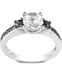 KLENOTA Stříbrný prsten se safíry a diamanty