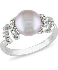 KLENOTA Stříbrný prsten s růžovou perlou a diamanty