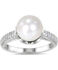KLENOTA Stříbrný prsten s perlou a diamanty