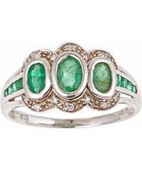 KLENOTA Stříbrný prsten se smaragdy a diamanty