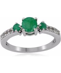 KLENOTA Stříbrný prsten se smaragdy a bílými topazy