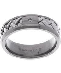 KLENOTA Prsteny stříbrné s titanem a diamantem