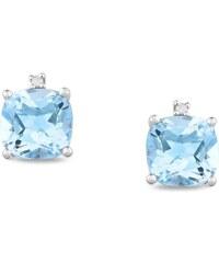 KLENOTA Stříbrné náušnice s topazy a diamanty
