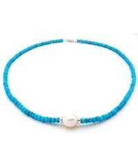 KLENOTA Tyrkysový náhrdelník s bílou perlou