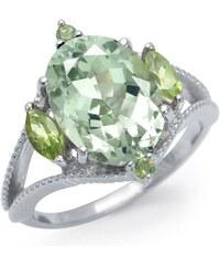 KLENOTA Pozlacený prsten se zeleným ametystem a peridoty