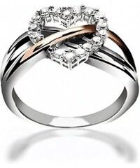 KLENOTA Stříbrný prsten se srdcem ze zirkonů