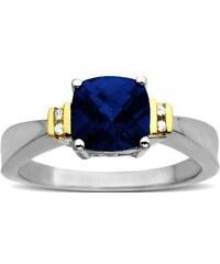 KLENOTA Stříbrný prsten s syntetickým safírem a diamanty