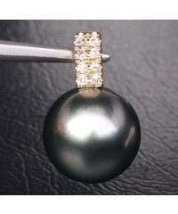 KLENOTA Přívěsek s Tahitskou perlou a diamanty