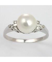 KLENOTA Perlový prsten z bílého zlata a diamanty
